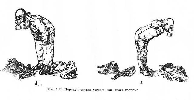 При снятии костюма Л-1 необходимо обращать особое внимание на то . чтобы открытыми участками тела не